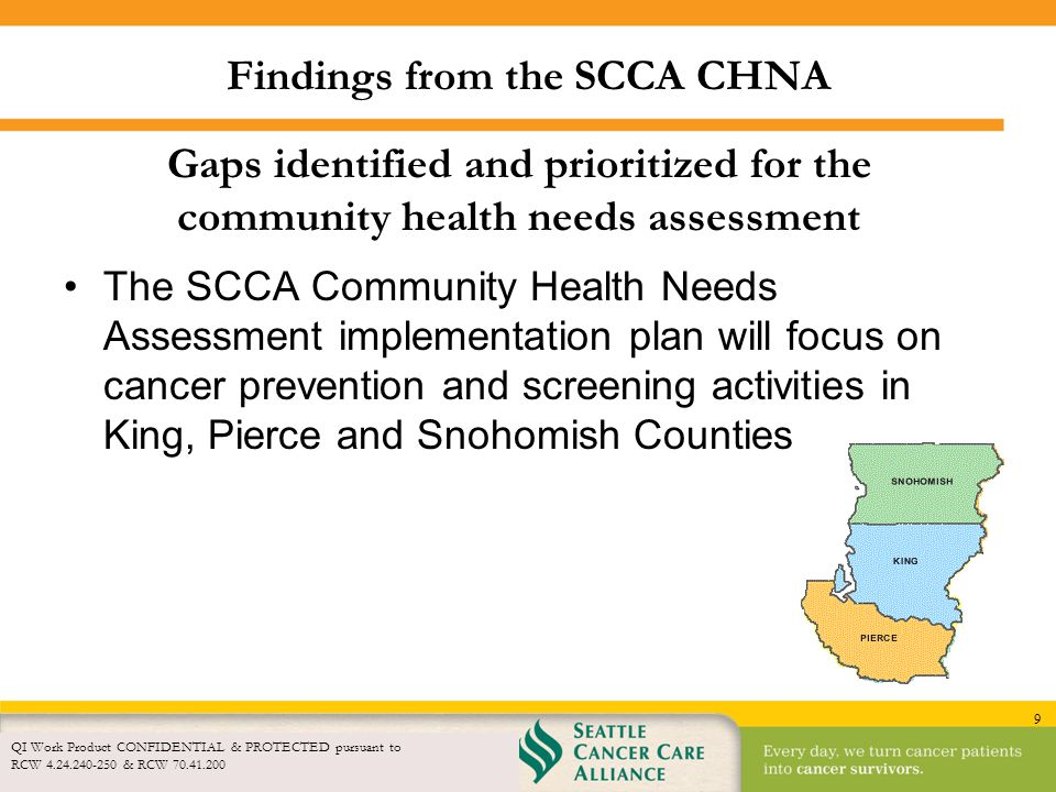 9 Findings from the SCCA CHNA QI Work Product CONFIDENTIAL & PROTECTED pursuant to RCW 4.24.240-250 & RCW 70.41.200 Gaps identified and prioritized fo