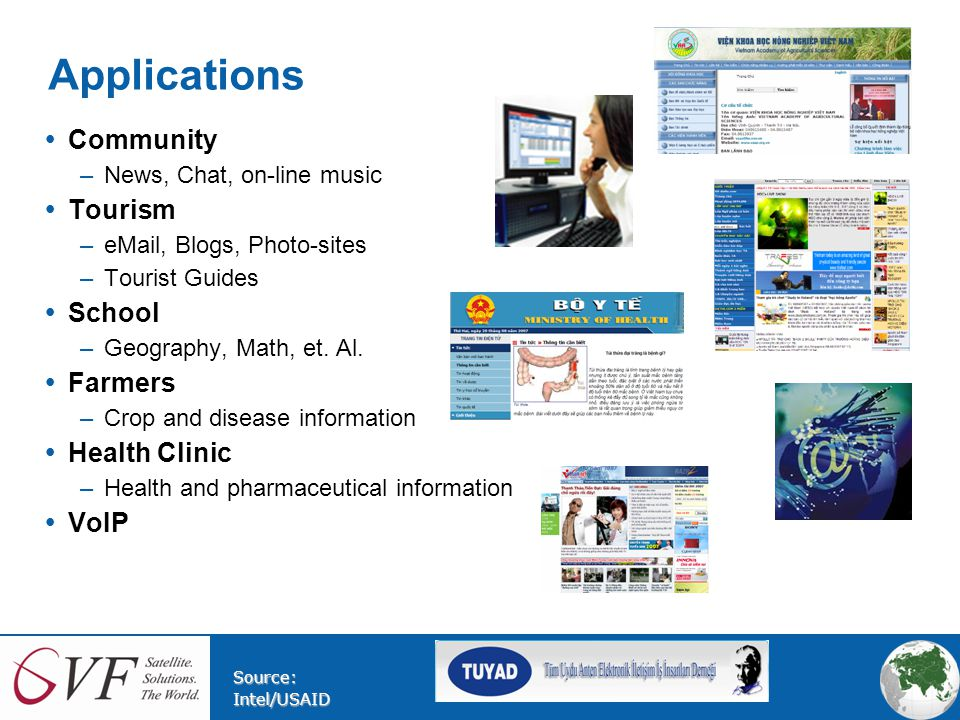 Applications  Community –News, Chat, on-line music  Tourism –eMail, Blogs, Photo-sites –Tourist Guides  School –Geography, Math, et.