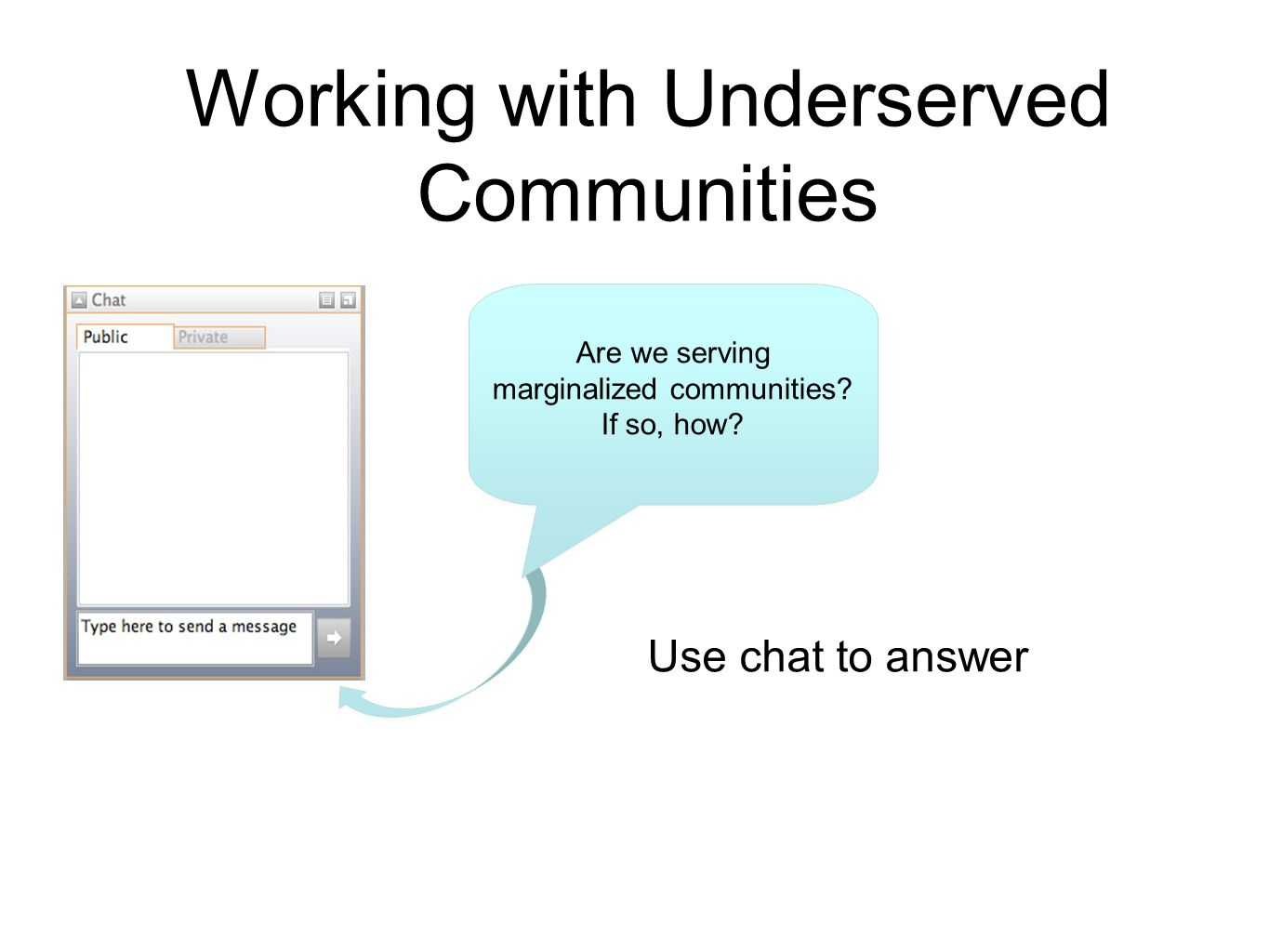 Working with Underserved Communities Are we serving marginalized communities.