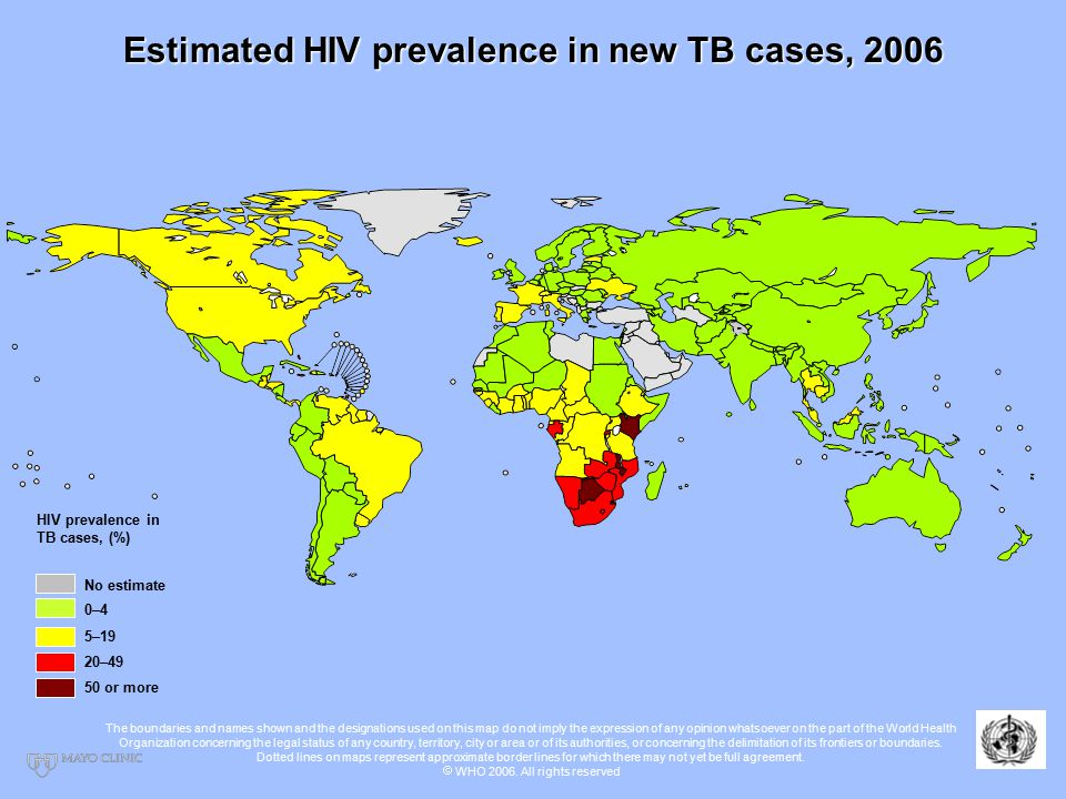 Estimated HIV prevalence in new TB cases, 2006 No estimate 0–4 20–49 50 or more 5–19 HIV prevalence in TB cases, (%) The boundaries and names shown and the designations used on this map do not imply the expression of any opinion whatsoever on the part of the World Health Organization concerning the legal status of any country, territory, city or area or of its authorities, or concerning the delimitation of its frontiers or boundaries.