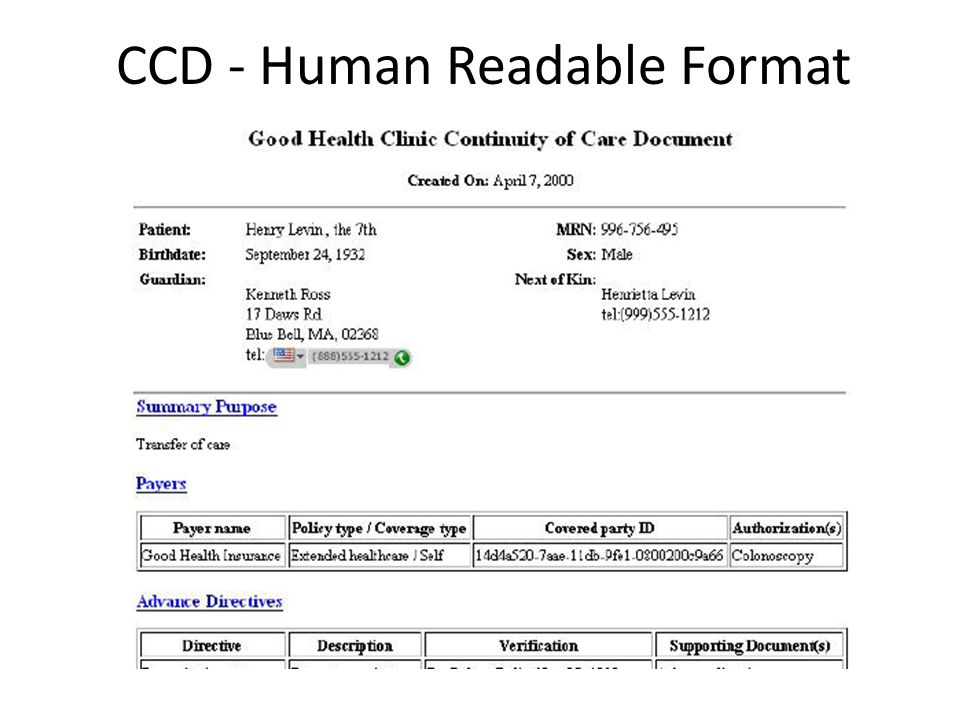 CCD - Human Readable Format