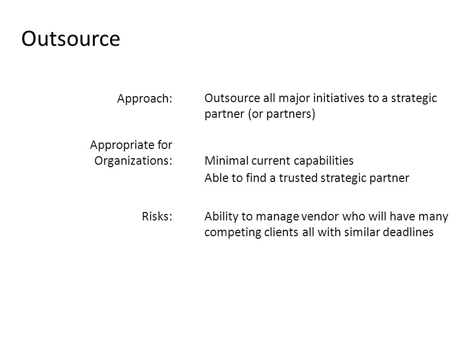 Outsource Approach: Outsource all major initiatives to a strategic partner (or partners) Appropriate for Organizations:Minimal current capabilities Able to find a trusted strategic partner Risks:Ability to manage vendor who will have many competing clients all with similar deadlines