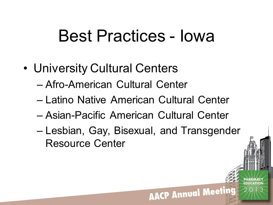 Best Practices - Iowa University Cultural Centers –Afro-American Cultural Center –Latino Native American Cultural Center –Asian-Pacific American Cultural Center –Lesbian, Gay, Bisexual, and Transgender Resource Center