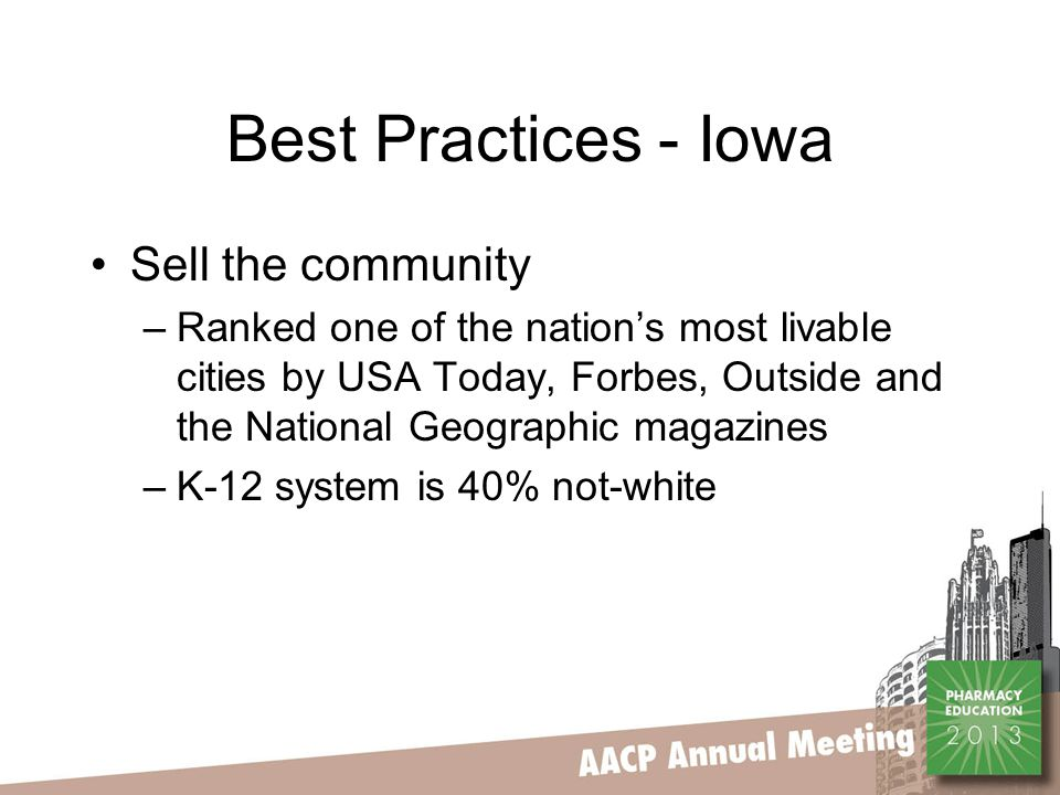 Best Practices - Iowa Sell the community –Ranked one of the nation's most livable cities by USA Today, Forbes, Outside and the National Geographic magazines –K-12 system is 40% not-white