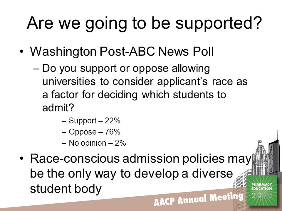 Are we going to be supported? Washington Post-ABC News Poll –Do you support or oppose allowing universities to consider applicant's race as a factor f