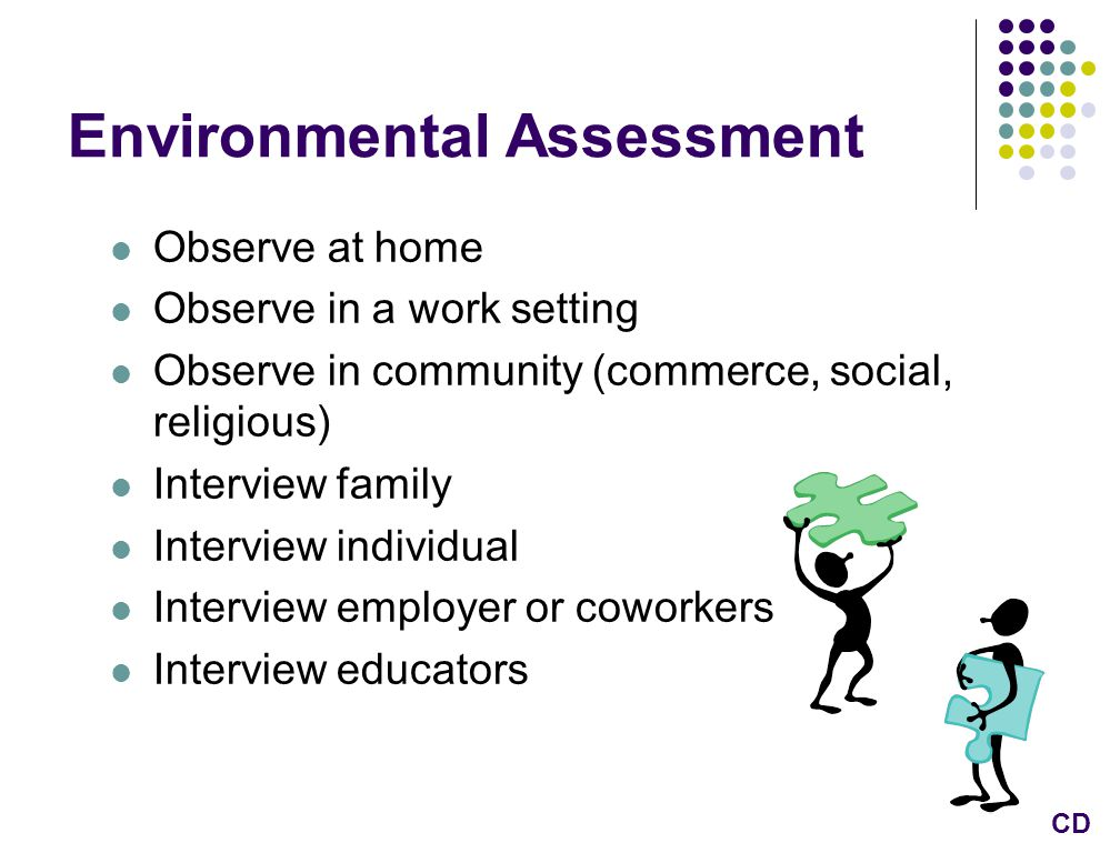 Environmental Assessment Observe at home Observe in a work setting Observe in community (commerce, social, religious) Interview family Interview individual Interview employer or coworkers Interview educators CD