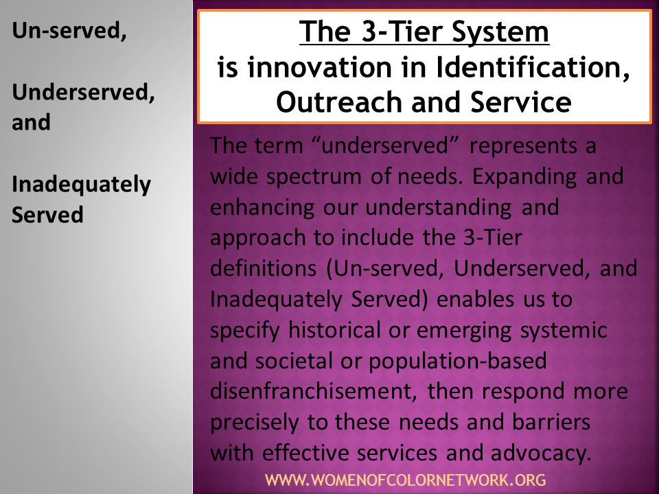 WWW.WOMENOFCOLORNETWORK.ORG Un-served No services available Severe isolation Underserved Limited access Moderate Isolation Inadequately served Over- represented Access but limited quality 3-TS Expands and Enhances Our Approach Based on a Spectrum of Needs