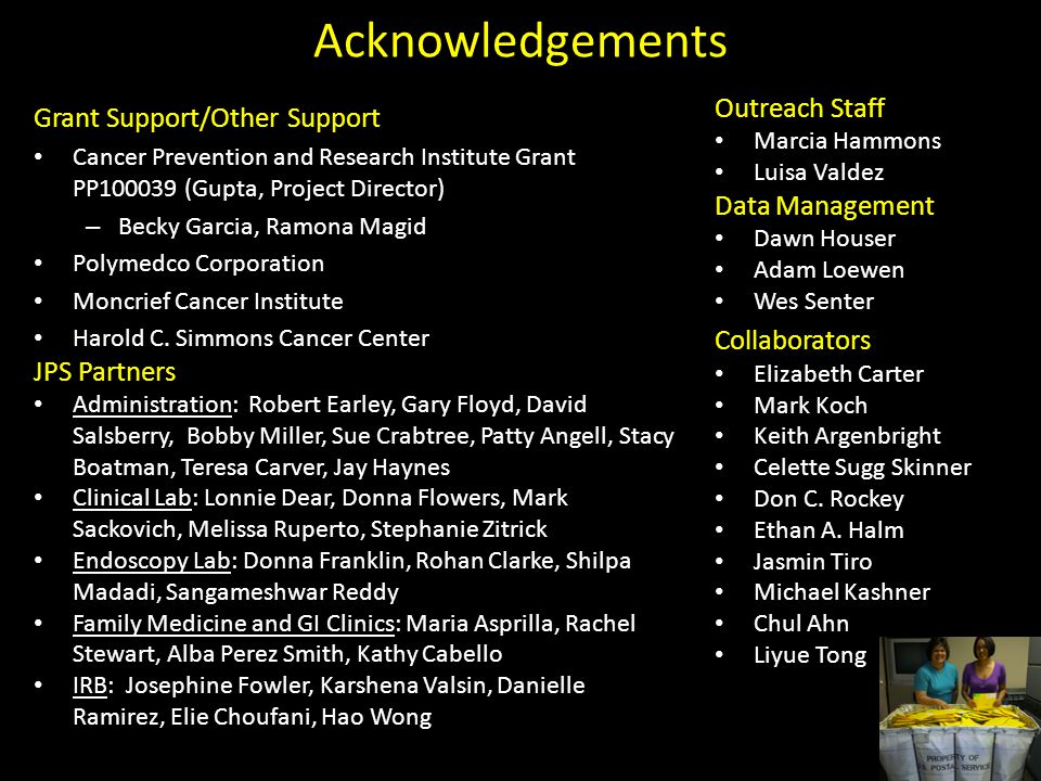 Acknowledgements Grant Support/Other Support Cancer Prevention and Research Institute Grant PP100039 (Gupta, Project Director) – Becky Garcia, Ramona Magid Polymedco Corporation Moncrief Cancer Institute Harold C.