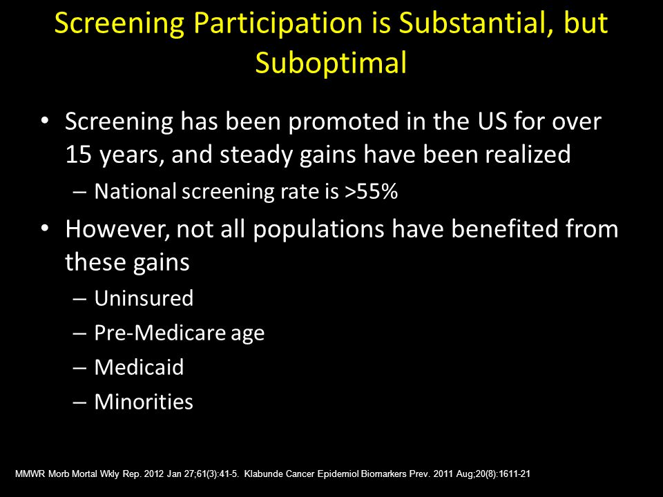 Screening Participation is Substantial, but Suboptimal Screening has been promoted in the US for over 15 years, and steady gains have been realized – National screening rate is >55% However, not all populations have benefited from these gains – Uninsured – Pre-Medicare age – Medicaid – Minorities MMWR Morb Mortal Wkly Rep.