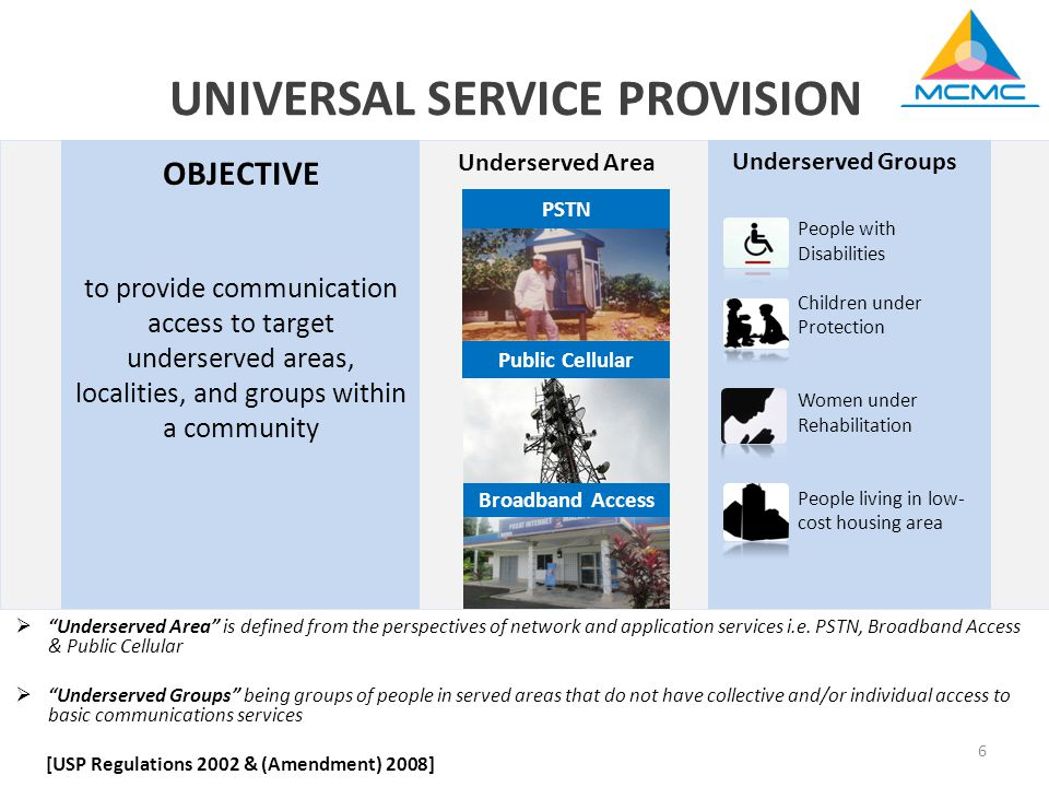 6 People with Disabilities Children under Protection Women under Rehabilitation People living in low- cost housing area Underserved Groups Underserved Area Broadband Access Public Cellular PSTN  Underserved Area is defined from the perspectives of network and application services i.e.