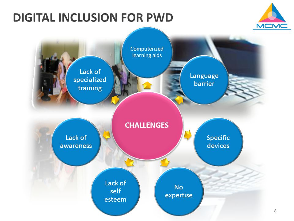 8 CHALLENGES Computerized learning aids Language barrier Specific devices No expertise Lack of self esteem Lack of awareness Lack of specialized training DIGITAL INCLUSION FOR PWD