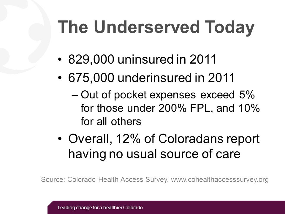 Leading change for a healthier Colorado The Underserved Today 829,000 uninsured in 2011 675,000 underinsured in 2011 –Out of pocket expenses exceed 5%