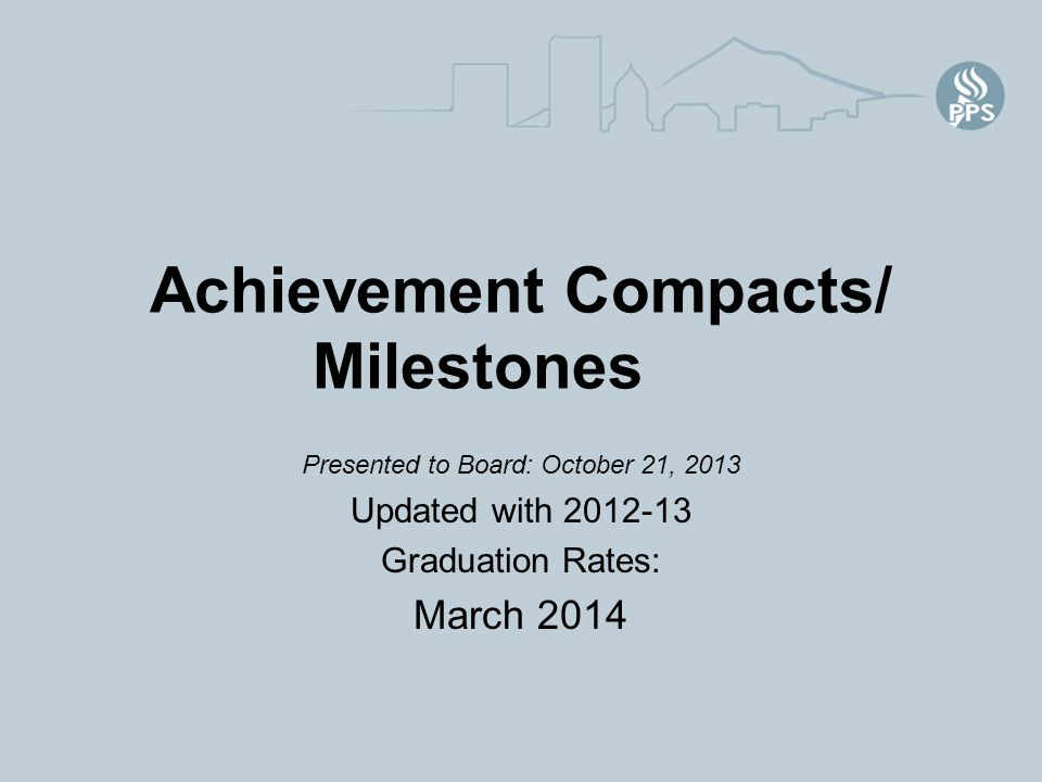 Achievement Compacts/ Milestones Presented to Board: October 21, 2013 Updated with 2012-13 Graduation Rates: March 2014