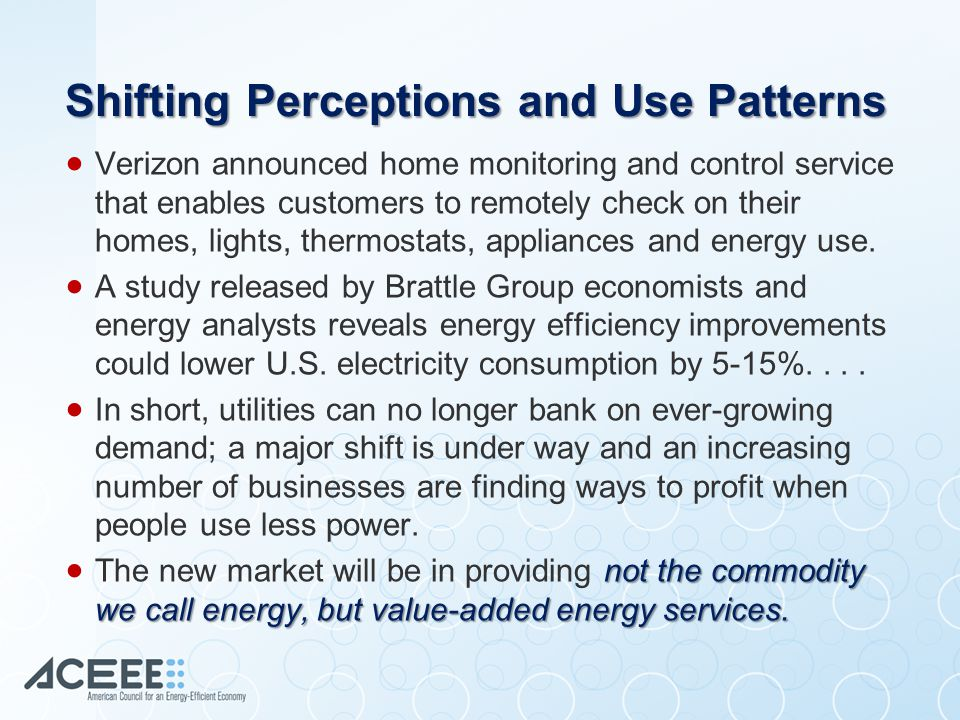 Shifting Perceptions and Use Patterns  Verizon announced home monitoring and control service that enables customers to remotely check on their homes, lights, thermostats, appliances and energy use.