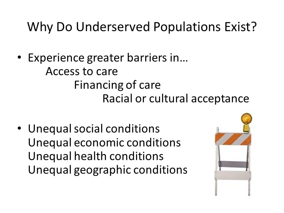 Why Do Underserved Populations Exist.