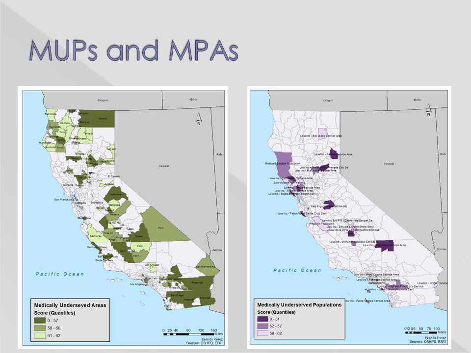 Concentrations of MUAs: East LA Downtown LA Long Beach