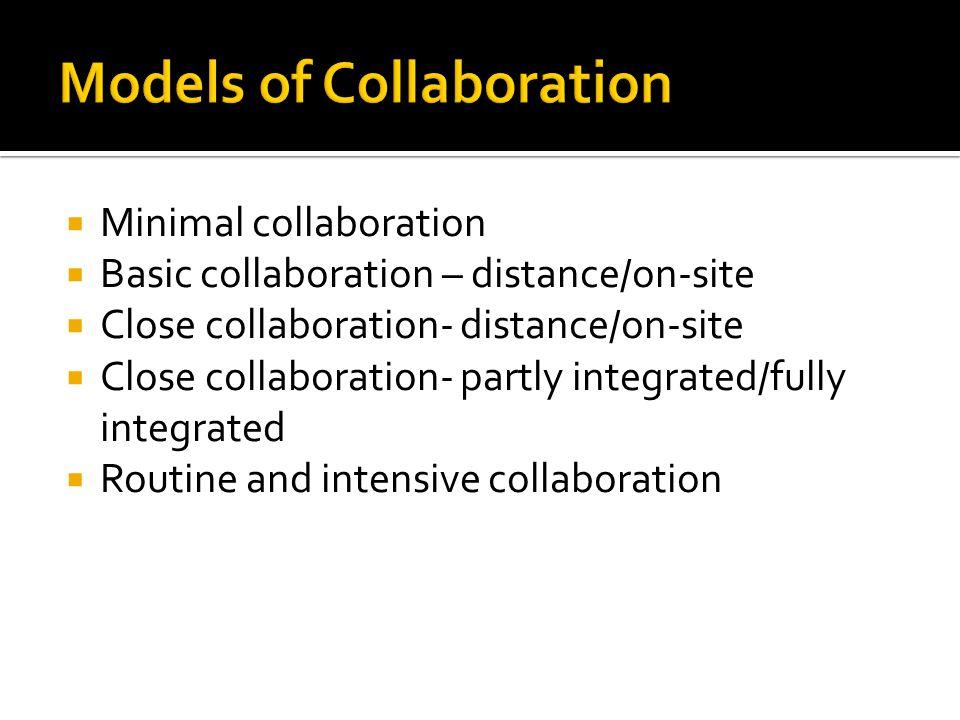  Minimal collaboration  Basic collaboration – distance/on-site  Close collaboration- distance/on-site  Close collaboration- partly integrated/fully integrated  Routine and intensive collaboration