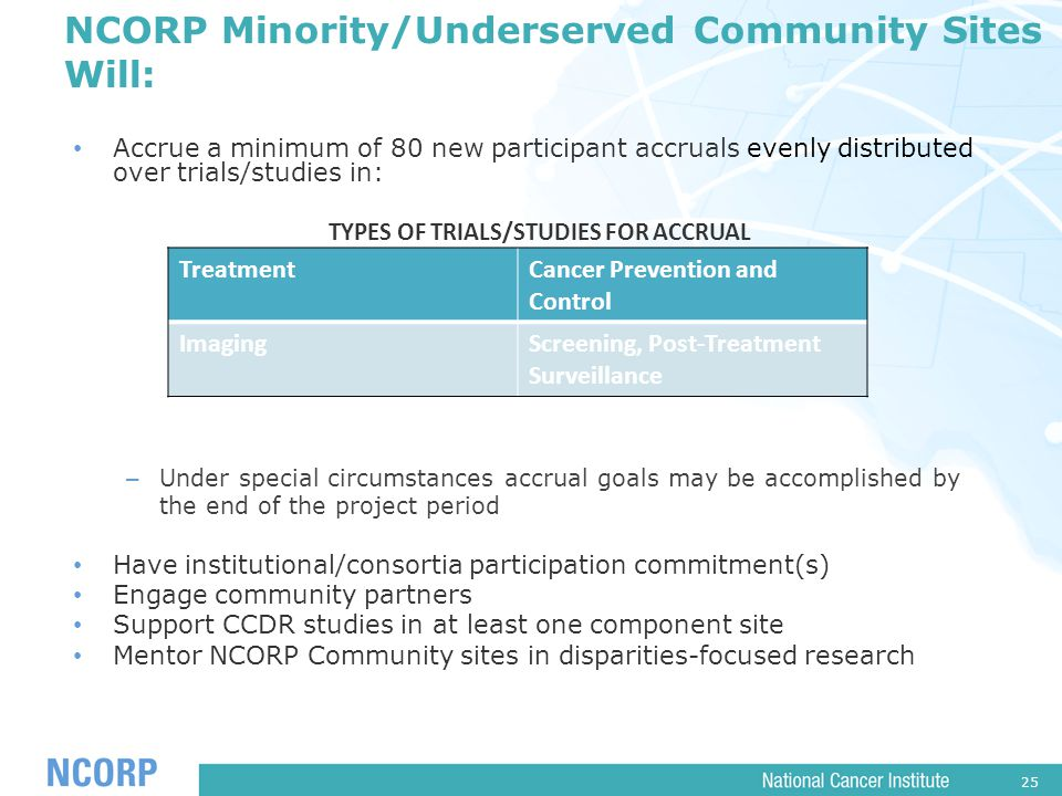 25 NCORP Minority/Underserved Community Sites Will: Accrue a minimum of 80 new participant accruals evenly distributed over trials/studies in: TYPES OF TRIALS/STUDIES FOR ACCRUAL – Under special circumstances accrual goals may be accomplished by the end of the project period Have institutional/consortia participation commitment(s) Engage community partners Support CCDR studies in at least one component site Mentor NCORP Community sites in disparities-focused research TreatmentCancer Prevention and Control ImagingScreening, Post-Treatment Surveillance