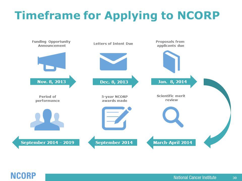 30 Timeframe for Applying to NCORP Nov. 8, 2013Jan.
