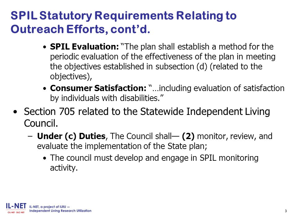 SPIL Statutory Requirements Relating to Outreach Efforts, cont'd.