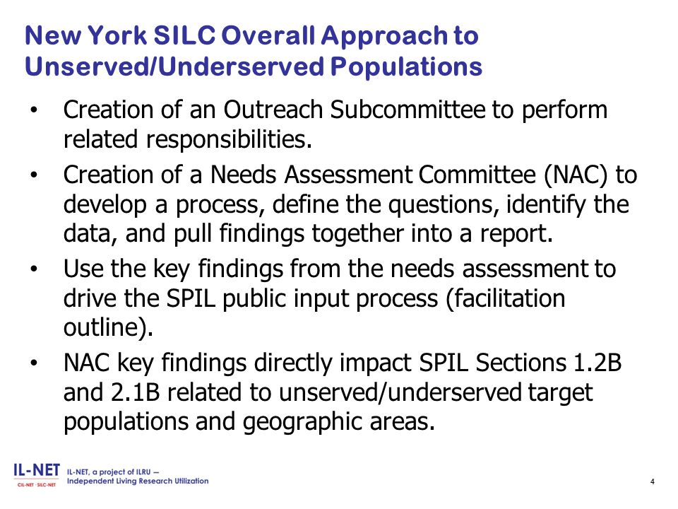 New York SILC Overall Approach to Unserved/Underserved Populations Creation of an Outreach Subcommittee to perform related responsibilities.
