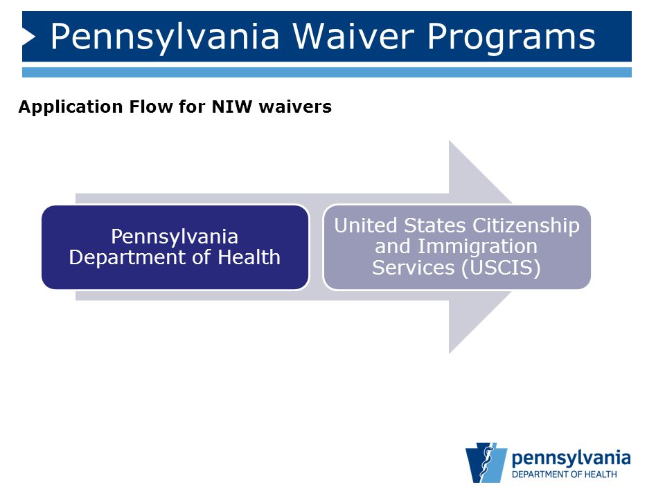 Pennsylvania Waiver Programs Pennsylvania Department of Health United States Citizenship and Immigration Services (USCIS) Application Flow for NIW waivers