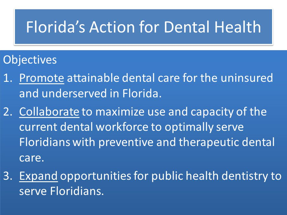 Florida's Action for Dental Health Objectives 1.Promote attainable dental care for the uninsured and underserved in Florida.