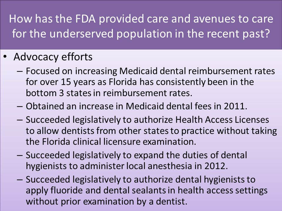 How has the FDA provided care and avenues to care for the underserved population in the recent past.