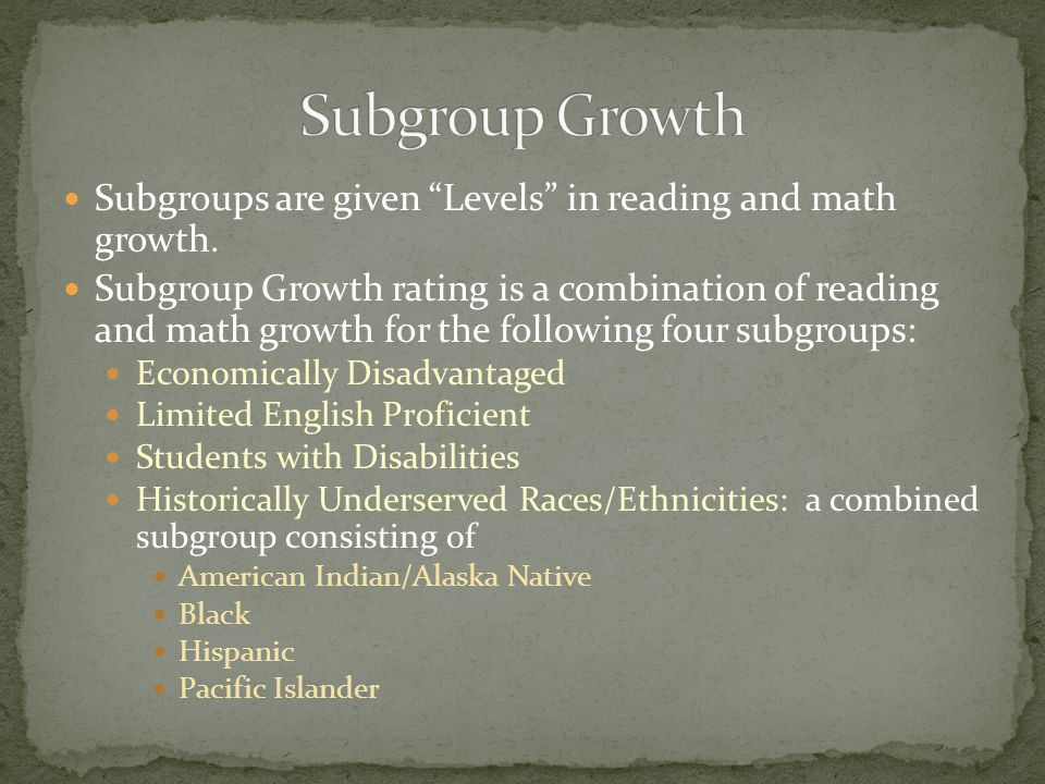 "Subgroups are given ""Levels"" in reading and math growth. Subgroup Growth rating is a combination of reading and math growth for the following four sub"