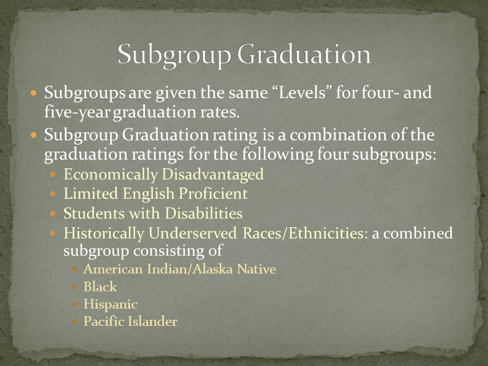 "Subgroups are given the same ""Levels"" for four- and five-year graduation rates. Subgroup Graduation rating is a combination of the graduation ratings"