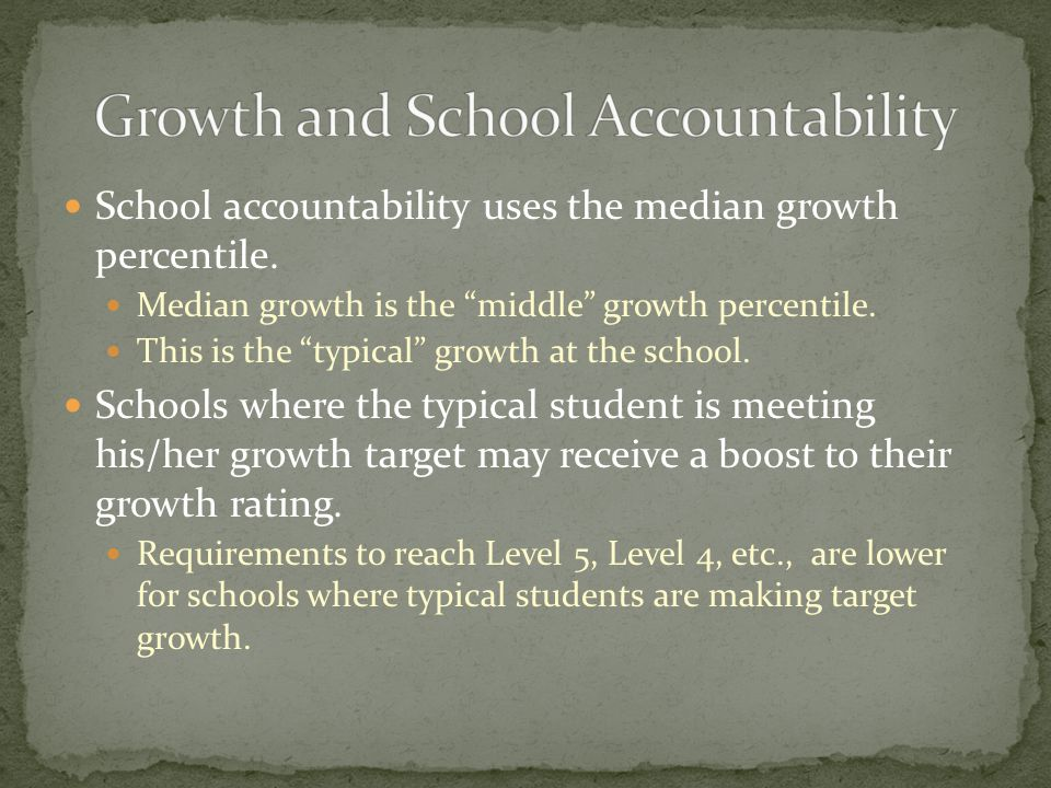 "School accountability uses the median growth percentile. Median growth is the ""middle"" growth percentile. This is the ""typical"" growth at the school."