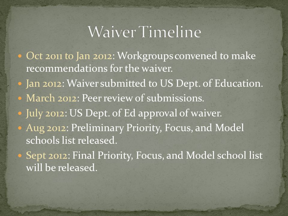 Oct 2011 to Jan 2012: Workgroups convened to make recommendations for the waiver. Jan 2012: Waiver submitted to US Dept. of Education. March 2012: Pee