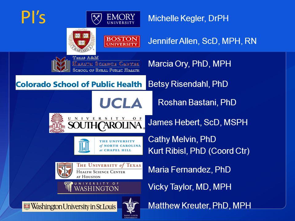 PI's Michelle Kegler, DrPH Jennifer Allen, ScD, MPH, RN Betsy Risendahl, PhD Roshan Bastani, PhD Cathy Melvin, PhD Kurt Ribisl, PhD (Coord Ctr) Maria