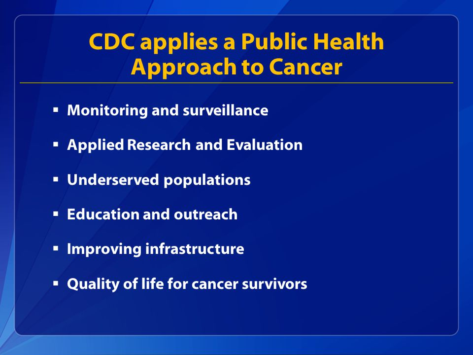 CDC applies a Public Health Approach to Cancer  Monitoring and surveillance  Applied Research and Evaluation  Underserved populations  Education and outreach  Improving infrastructure  Quality of life for cancer survivors
