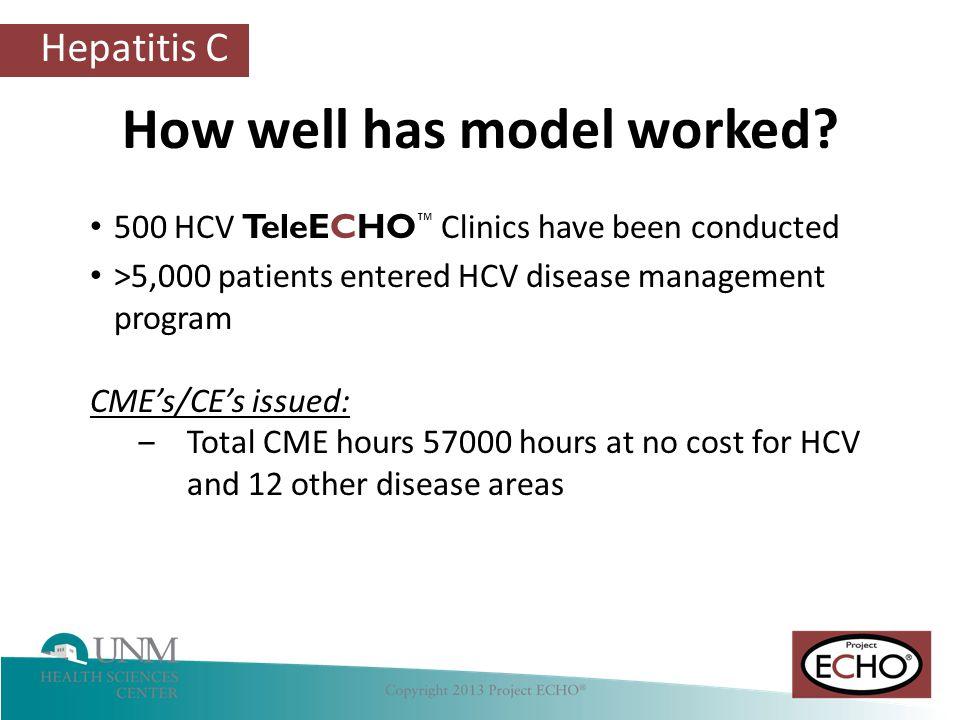 Hepatitis C How well has model worked.