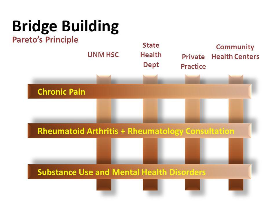 Bridge Building UNM HSC State Health Dept Private Practice Community Health Centers Pareto's Principle Chronic Pain Rheumatoid Arthritis + Rheumatology Consultation Substance Use and Mental Health Disorders