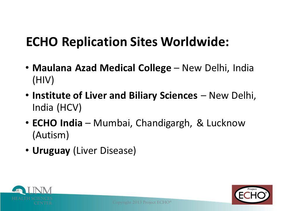 Hepatitis C ECHO Replication Sites Worldwide: Maulana Azad Medical College – New Delhi, India (HIV) Institute of Liver and Biliary Sciences – New Delhi, India (HCV) ECHO India – Mumbai, Chandigargh, & Lucknow (Autism) Uruguay (Liver Disease)