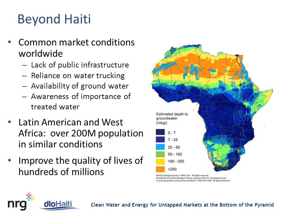 Clean Water and Energy for Untapped Markets at the Bottom of the Pyramid Beyond Haiti Common market conditions worldwide – Lack of public infrastructure – Reliance on water trucking – Availability of ground water – Awareness of importance of treated water Latin American and West Africa: over 200M population in similar conditions Improve the quality of lives of hundreds of millions