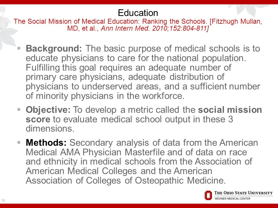 Education The Social Mission of Medical Education: Ranking the Schools.