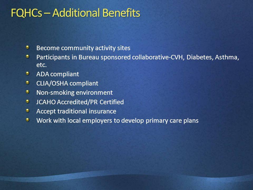 FQHCs – Additional Benefits Become community activity sites Participants in Bureau sponsored collaborative-CVH, Diabetes, Asthma, etc.