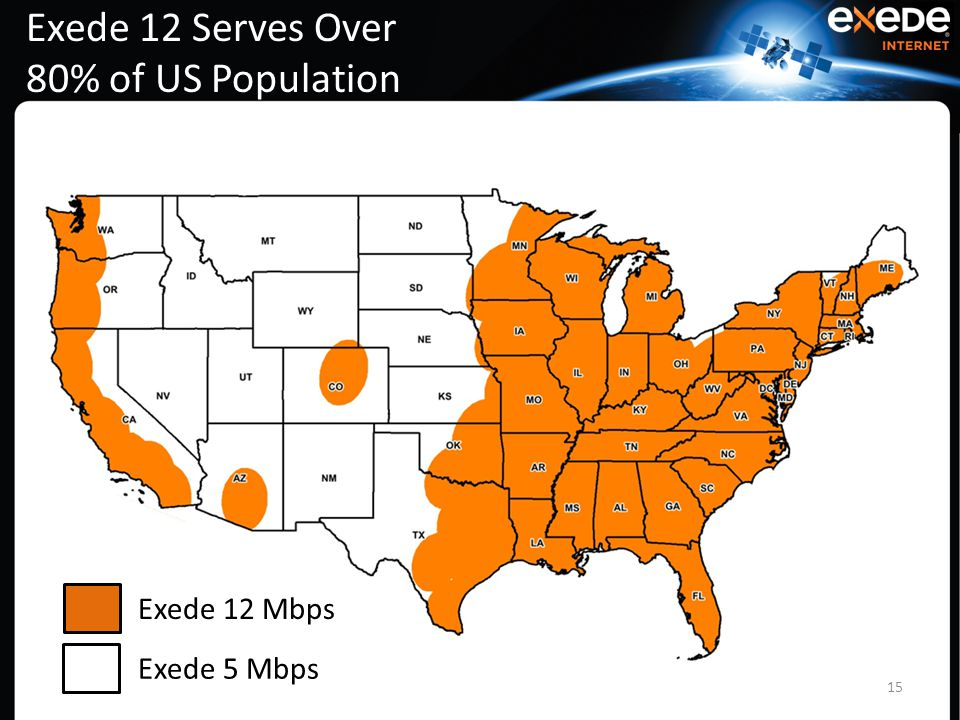 Exede 12 Serves Over 80% of US Population 15 Exede 12 Mbps Exede 5 Mbps