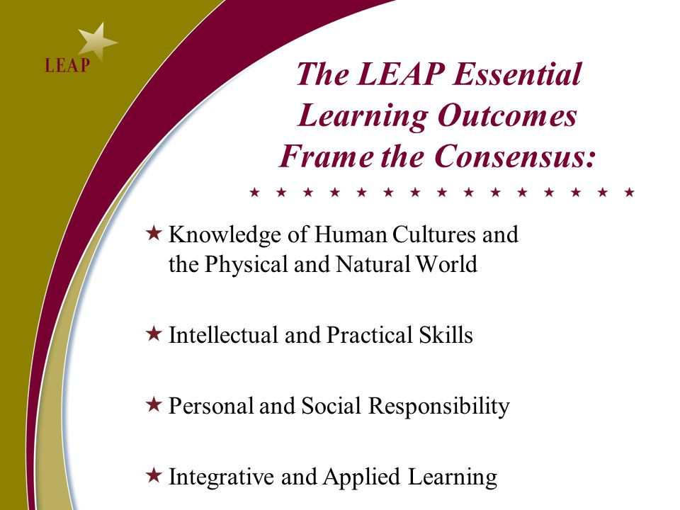 The LEAP Essential Learning Outcomes Frame the Consensus:  Knowledge of Human Cultures and the Physical and Natural World  Intellectual and Practical Skills  Personal and Social Responsibility  Integrative and Applied Learning
