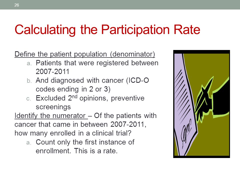 Calculating the Participation Rate Define the patient population (denominator) a.