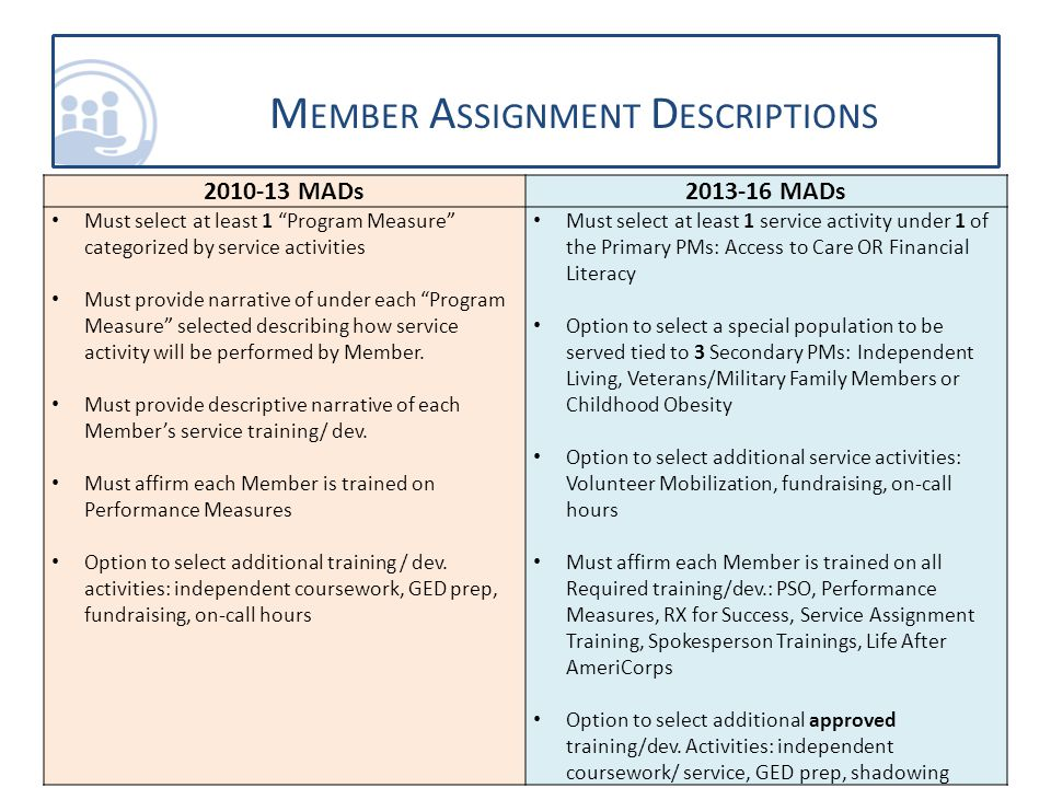 2010-13 MADs2013-16 MADs Must select at least 1 Program Measure categorized by service activities Must provide narrative of under each Program Measure selected describing how service activity will be performed by Member.