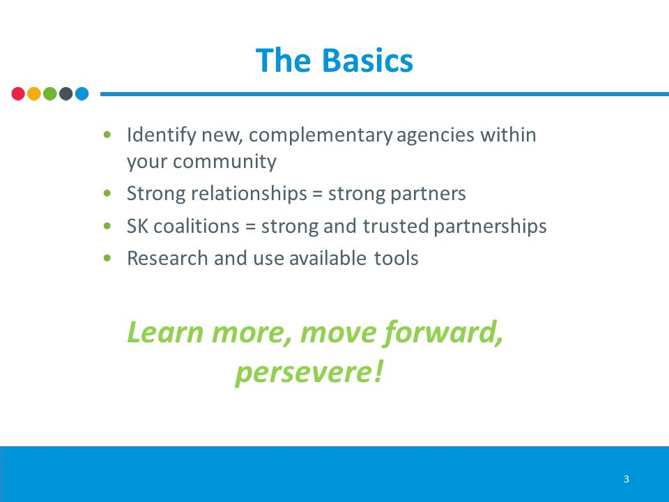 The Basics Identify new, complementary agencies within your community Strong relationships = strong partners SK coalitions = strong and trusted partnerships Research and use available tools Learn more, move forward, persevere.