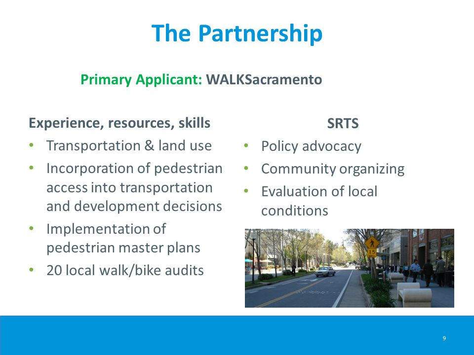 The Partnership Primary Applicant: WALKSacramento Experience, resources, skills Transportation & land use Incorporation of pedestrian access into transportation and development decisions Implementation of pedestrian master plans 20 local walk/bike audits SRTS Policy advocacy Community organizing Evaluation of local conditions 9