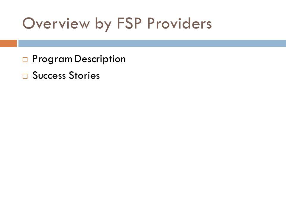Overview by FSP Providers  Program Description  Success Stories