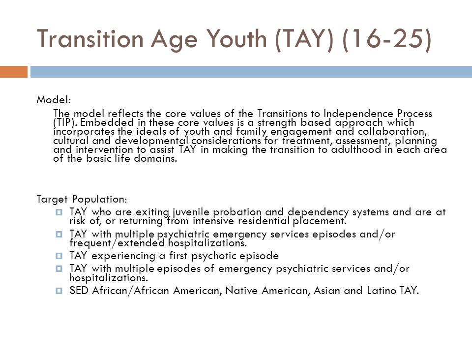 Transition Age Youth (TAY) (16-25) Model: The model reflects the core values of the Transitions to Independence Process (TIP). Embedded in these core