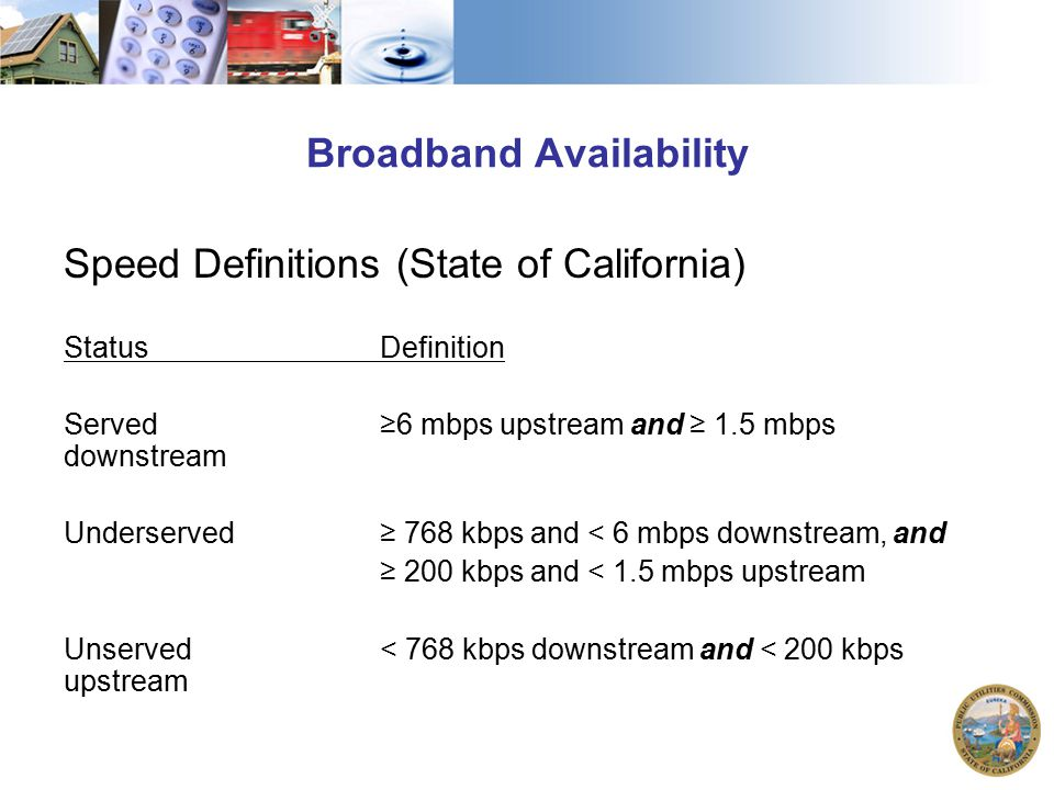 Broadband Availability Speed Definitions (State of California) StatusDefinition Served≥6 mbps upstream and ≥ 1.5 mbps downstream Underserved≥ 768 kbps and < 6 mbps downstream, and ≥ 200 kbps and < 1.5 mbps upstream Unserved< 768 kbps downstream and < 200 kbps upstream