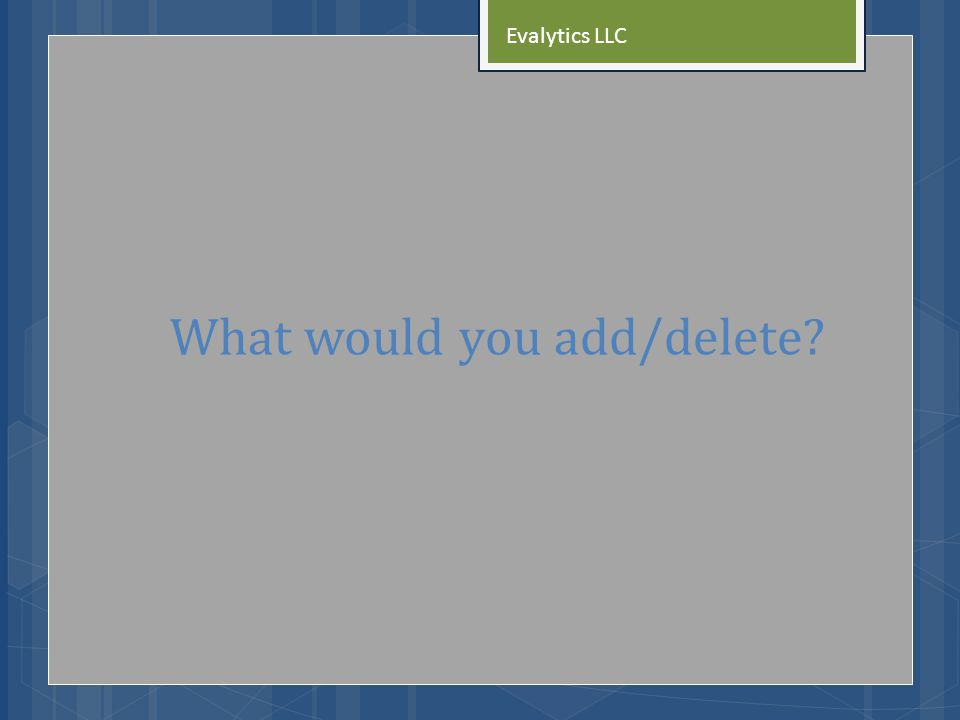 What would you add/delete Evalytics LLC